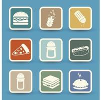 Fast food icons set isolated on background vector