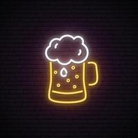 Neon Beer mug with foam. vector