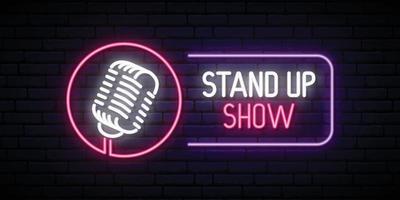 vector stand up show emblema en estilo neón.