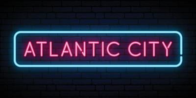 Atlantic city neon sign. vector