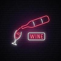 Neon Wine sign. vector