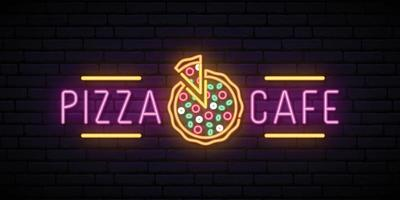 Neon pizza cafe emblem. vector