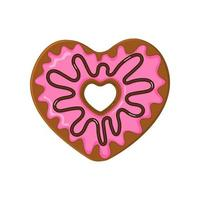 Heart shaped donut with pink icing and chocolate topping vector