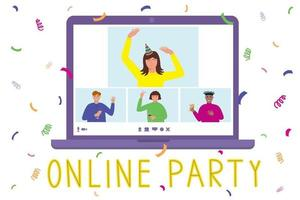Online birthday home party concept with people on laptop screen vector