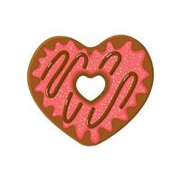 Heart shaped doughnut with strawberry glaze and chocolate topping vector