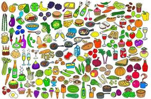 Mega Food Doodle Collection vector