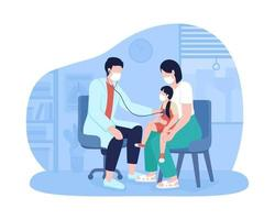 Annual pediatric visit 2D vector isolated illustration