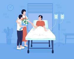 Member family at hospital flat color vector illustration