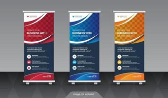 Modern Advertising Trend Business Roll Up Banner Stand Poster design vector