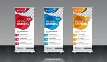 forma de elipse redonda corporativa creativa enrollar plantilla de banner standee vector