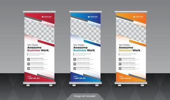 Abstract business standee roll up banner design vector