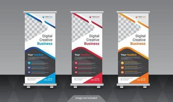 Abstract roll up display standee banner in dark and light shade vector