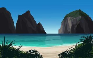 Beautiful Beach Scene With Cliff vector