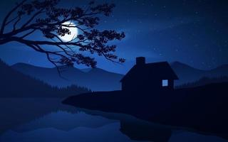 Beautiful Night Scene With House And Lake vector