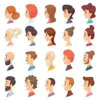 Avatars profile persons male and female different ages characters vector