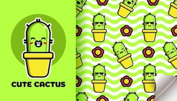 Cute cactus seamless pattern vector