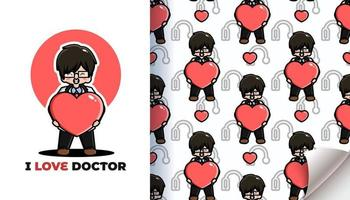 I love doctor seamless pattern vector