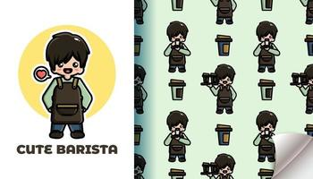Cute barista seamless pattern vector
