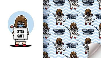 Cute dcotor found vaccine seamless pattern vector