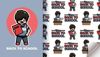 Boy back to school seamless pattern vector