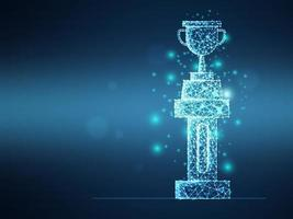 Trofeo de malla de estructura metálica futurista abstracto en pilar vector