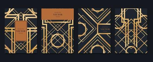 Luxury Invitation card design with art deco pattern background Vector