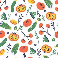 Seamless pattern with vegetables. Vegetarian healthy food background. vector