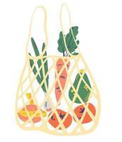 String bag with vegetables. Mesh eco bag full of vegetables. vector