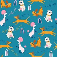 Seamless pattern with funny dogs. Childish background with dogs. vector