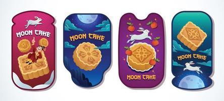 Moon cake card set vector design
