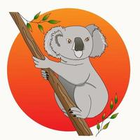 Australian koala bear during forest fires..Hand drawn, vector