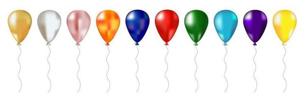 Set of multi-colored balloons. vector