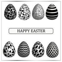 conjunto de huevos de pascua con varias texturas en blanco y negro. monocromo. vector