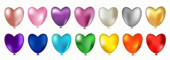 Set of colorful heart shaped balloons. vector