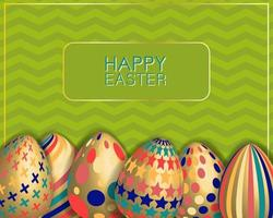 Easter card with decorated golden eggs. Green wavy background. vector