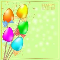 Greeting card with multi-colored Easter eggs on sticks. Green vector