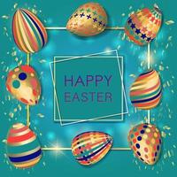 Happy Easter background with realistic decorated 3D eggs and confetti vector