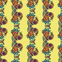 Seamless pattern on the theme of kalamkari. Paisley vector