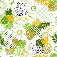 Seamless pattern with tropical leaves of plants and memphis style vector