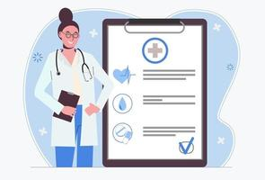 Female doctor. Medical insurance. Doctor's appointment. Examination vector