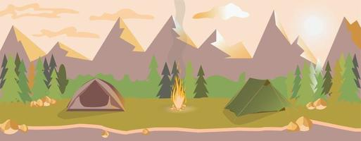 Life in nature. Journey. Camping at evening in the mountains vector