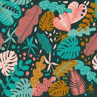 Seamless pattern with tropical leaves of plants. Flat vector