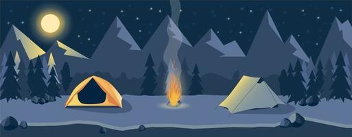 Life in nature. Journey. Camping at night in the mountains vector