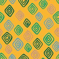 patrón sin costuras. rombos de colores sobre un fondo amarillo. dibujado a mano vector