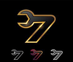 Golden Mechanic Monogram Logo Number 7 vector