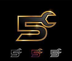 Golden Mechanic Monogram Logo Number 5 vector
