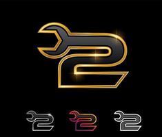 Golden Mechanic Monogram Logo Number 2 vector
