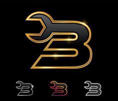 Golden Mechanic Monogram Logo Number 3 vector