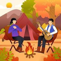 pareja relajante en otoño camping hill site vector