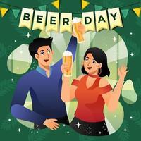 Couple Celebrating International Beer Day vector